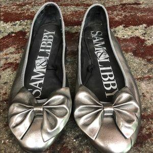 Sam & Libby Metallic Silver Ballet Bow Flats 9.5